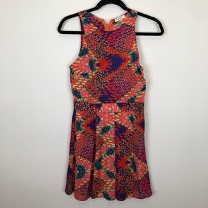Everly back zip multi color a line dress Small